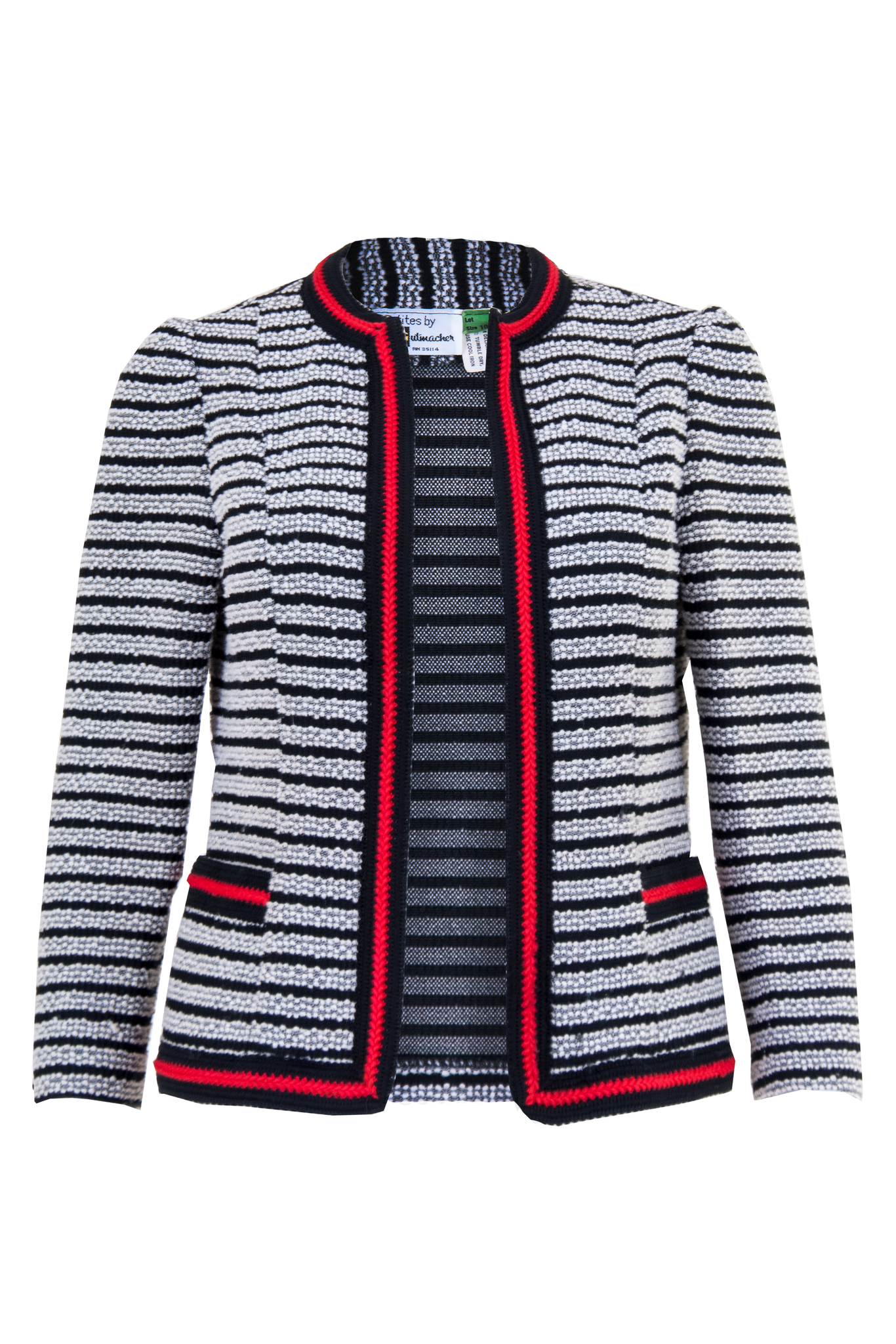 striped jacket in black and white with red trim
