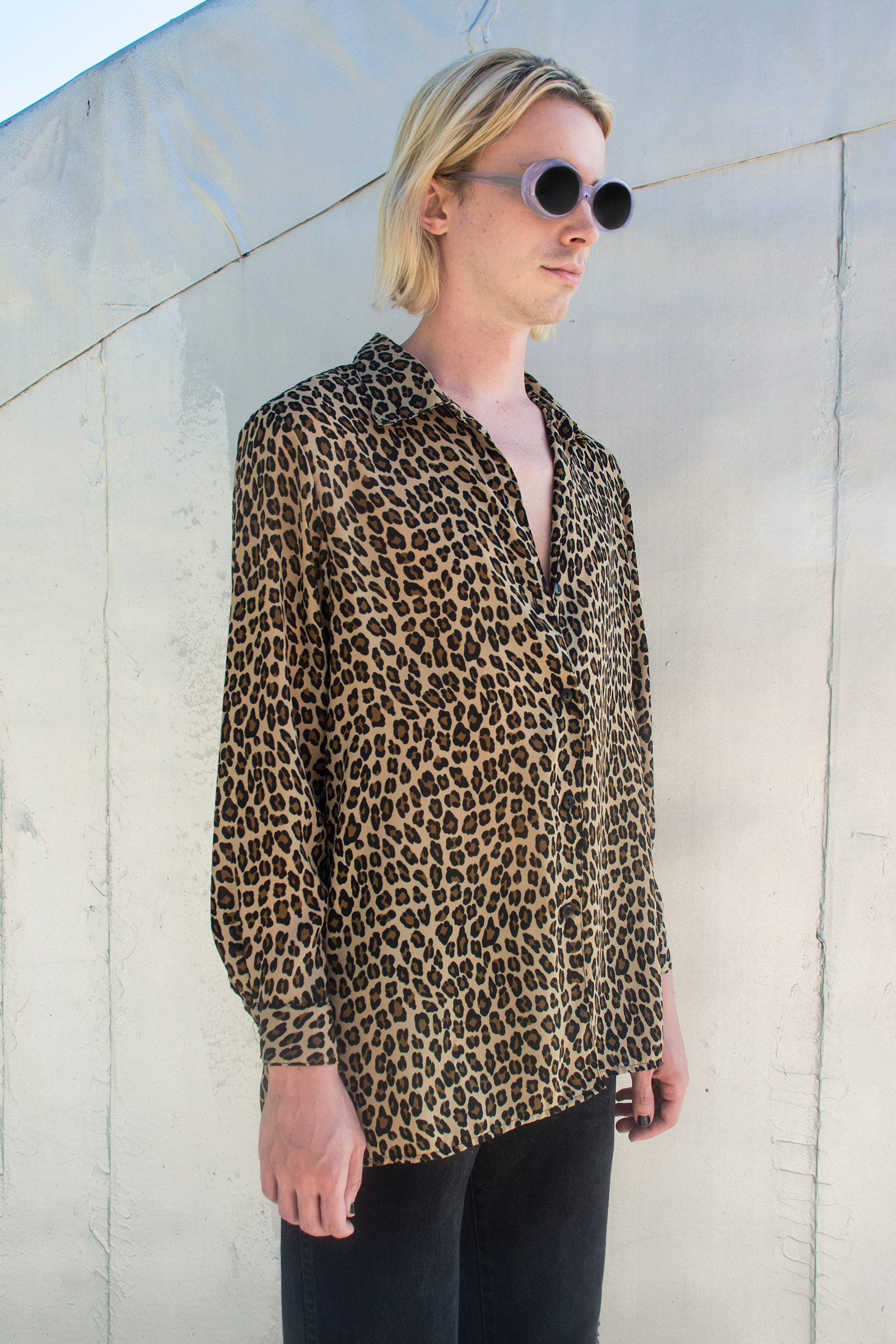 cheetah shirt with buttons ysl