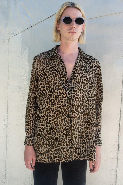 cheetah print button down shirt