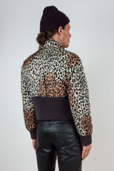 vintage cropped cheetah puffer jacket