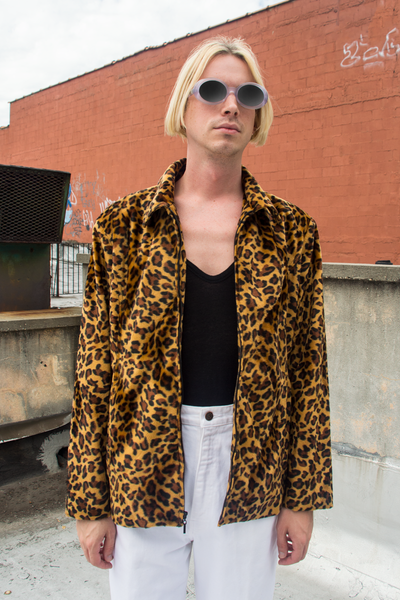 vintage faux fur cheetah jacket