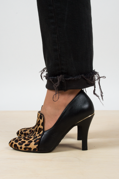 pony hair pumps in leopard print