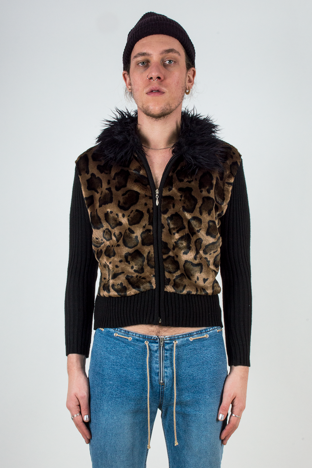 vintage leopard sweater jacket with black faux fur collar