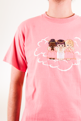 pink t-shirt with embroidered angels