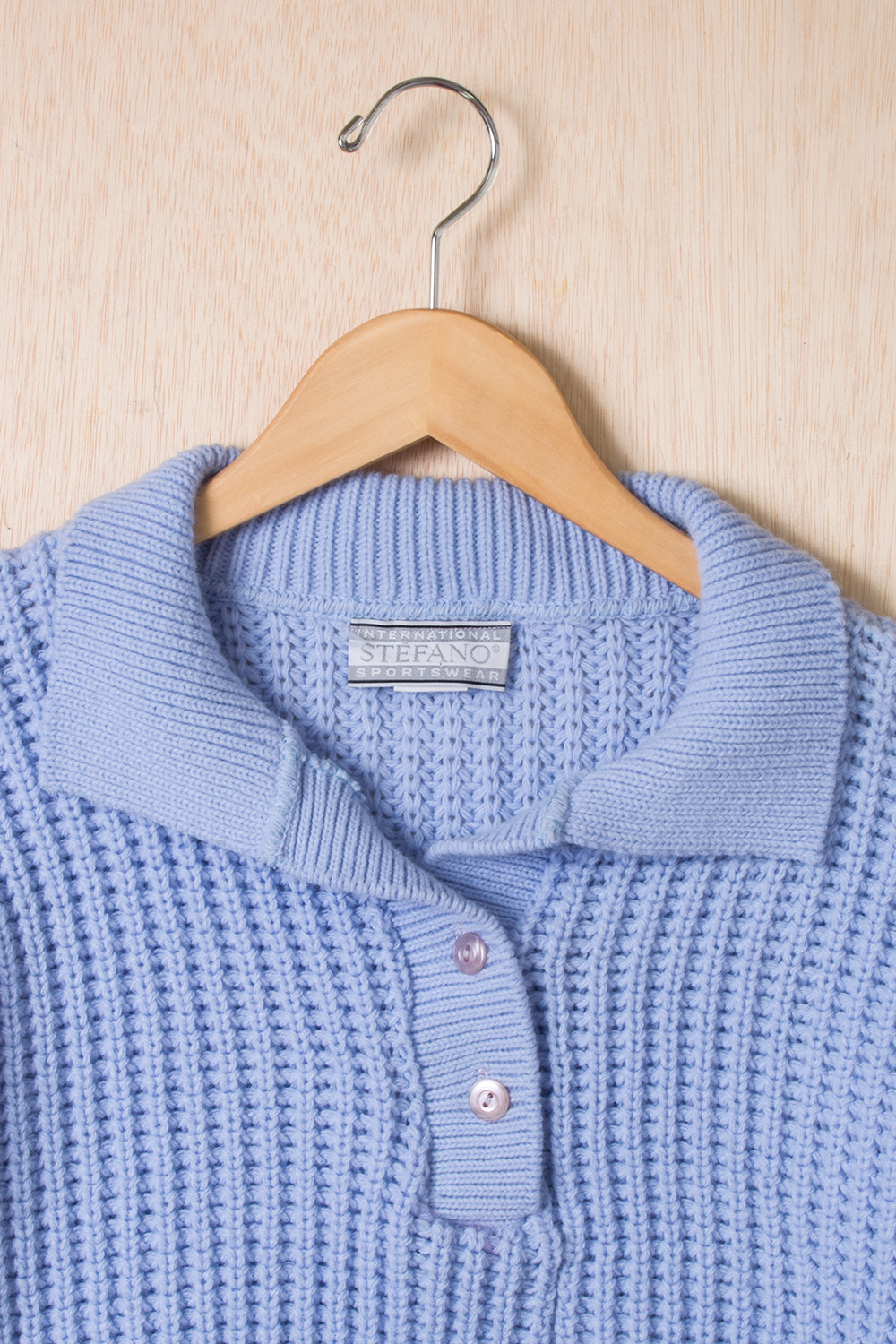 chunky blue polo sweater