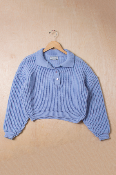 cropped chunky blue polo sweater