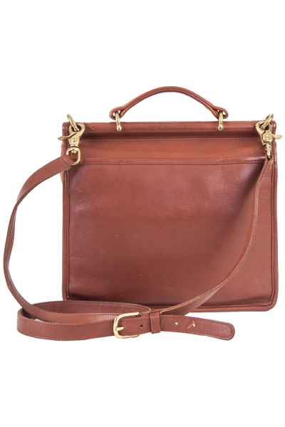 vintage cognac leather bag with cross-body strap