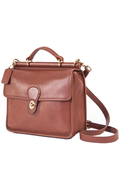 vintage coach willis bag in brown leather with gold-tone hardware