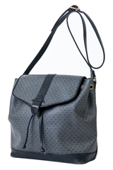 grey printed bucket bag with black leather trim
