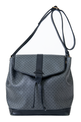 vintage bucket bag with black leather trim and grey triangle print