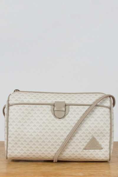 vintage coated canvas crossbody bag with geometric monogram print