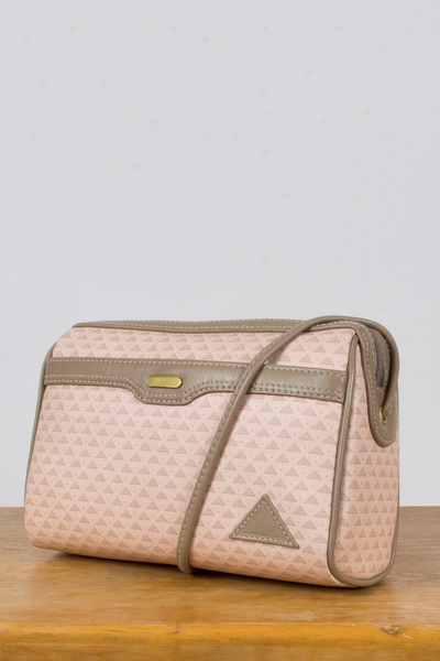 vintage pink coated canvas crossbody bag