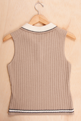 vintage tan knit tank top with white collar