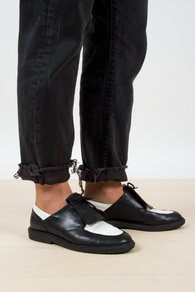 vintage color block leather oxfords