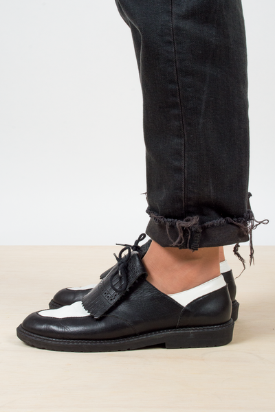 vintage leather oxfords with black and white color block