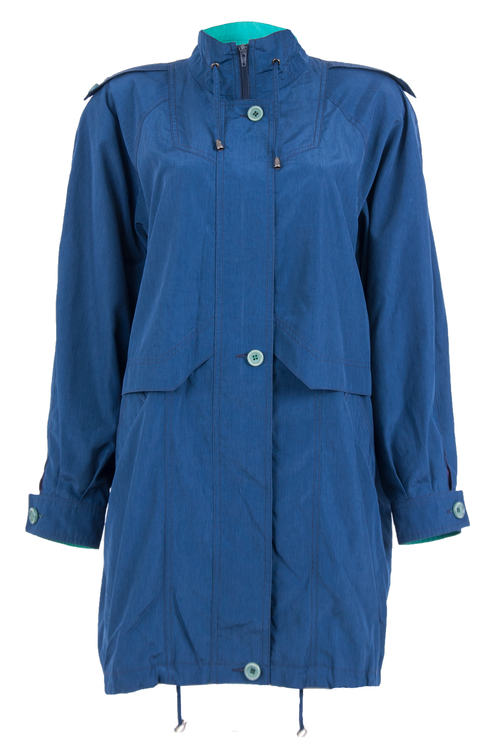 vintage blue parka trench with contrast interior
