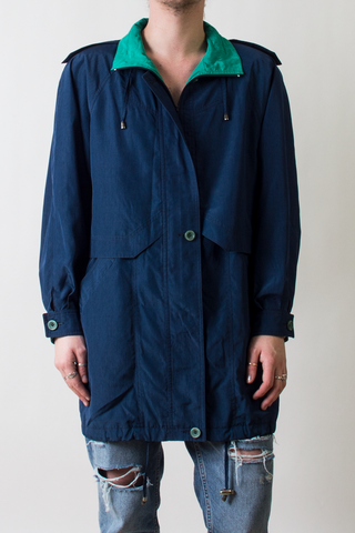 vintage navy blue and teal windbreaker