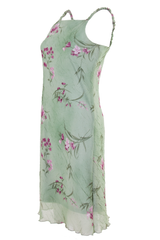 vintage floral dress in green and pink