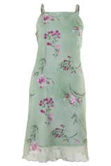 square-neck floral dress in green and pink