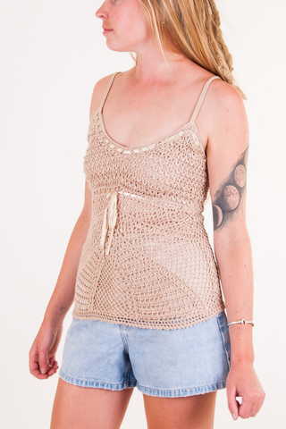 vintage beige crochet tank top and denim shorts