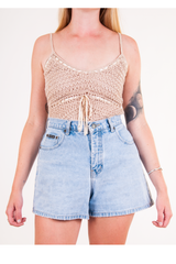 vintage beige crochet tank top and retro jean shorts