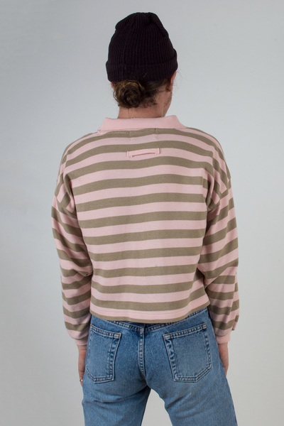 cropped pink and taupe striped vintage sweatshirt