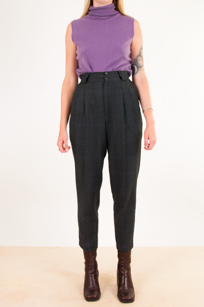 plaid pants with purple turtleneck