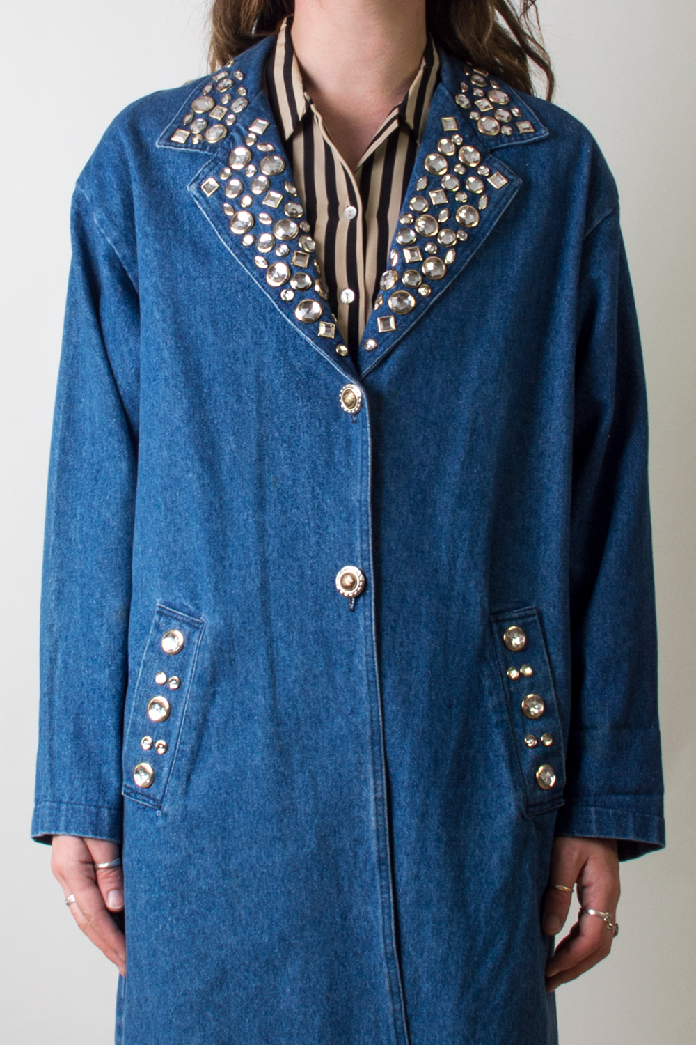 vintage denim trench coat with crystal embellishments