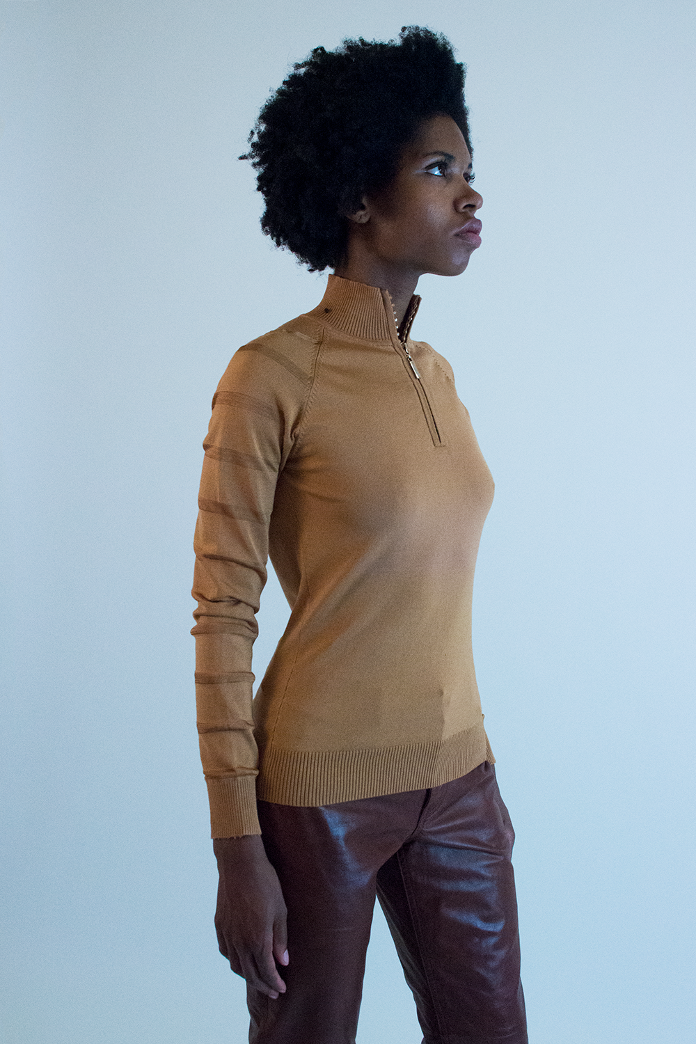 vintage tan silk sweater with crystal zipped turtleneck