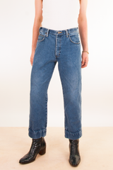 vintage jeans with cuffed bottoms