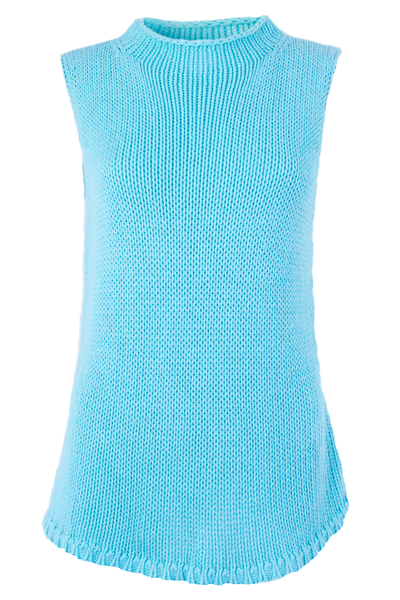 cyan blue sweater tank top with mock neck