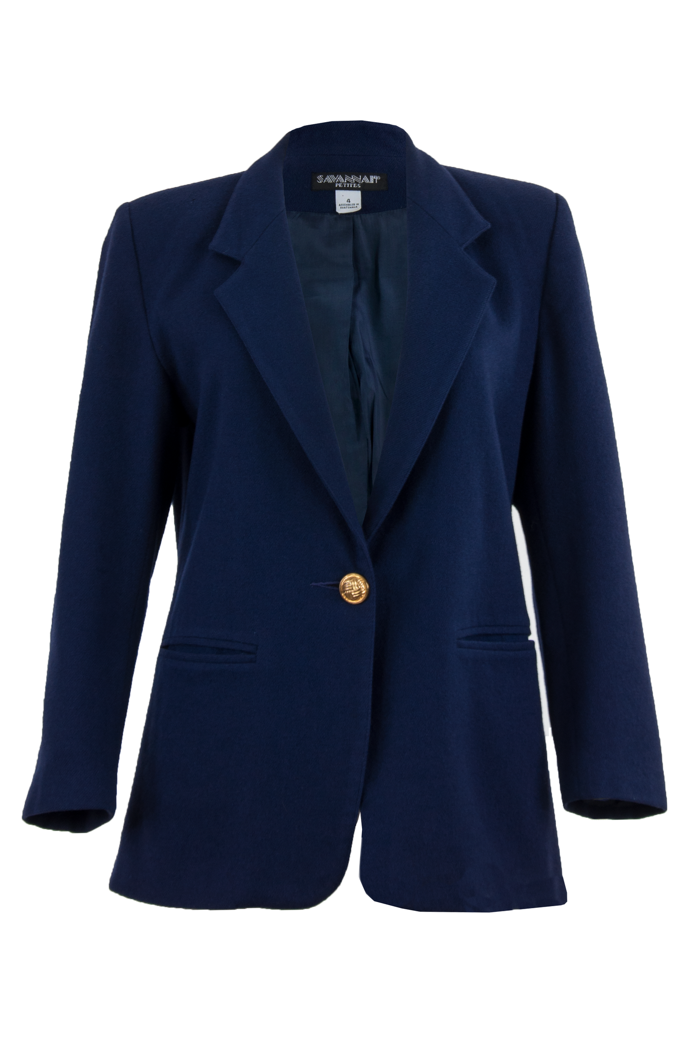 Vintage blazer in navy blue with gold-tone button