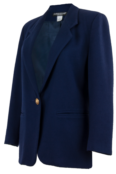 Vintage blazer in dark blue with gold-tone button