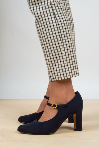 dark blue vintage Mary Jane heels