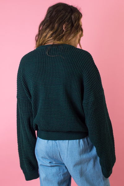 vintage green sweater with extra long sleeves
