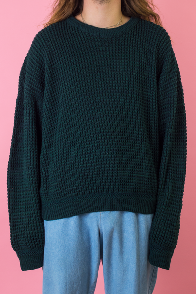 vintage green sweater with oversized long sleeves