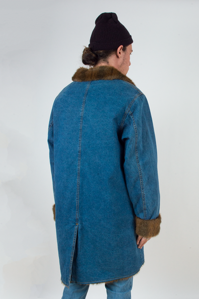 vintage long denim coat with brown faux fur trim