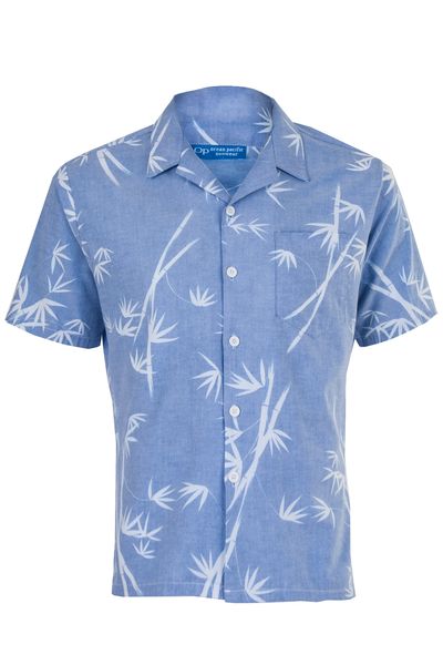 chambray camp style shirt with leaf print