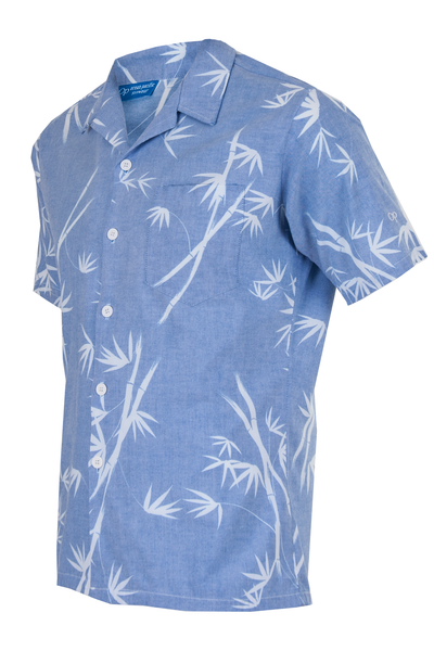 denim camp style button up shirt with leaf print