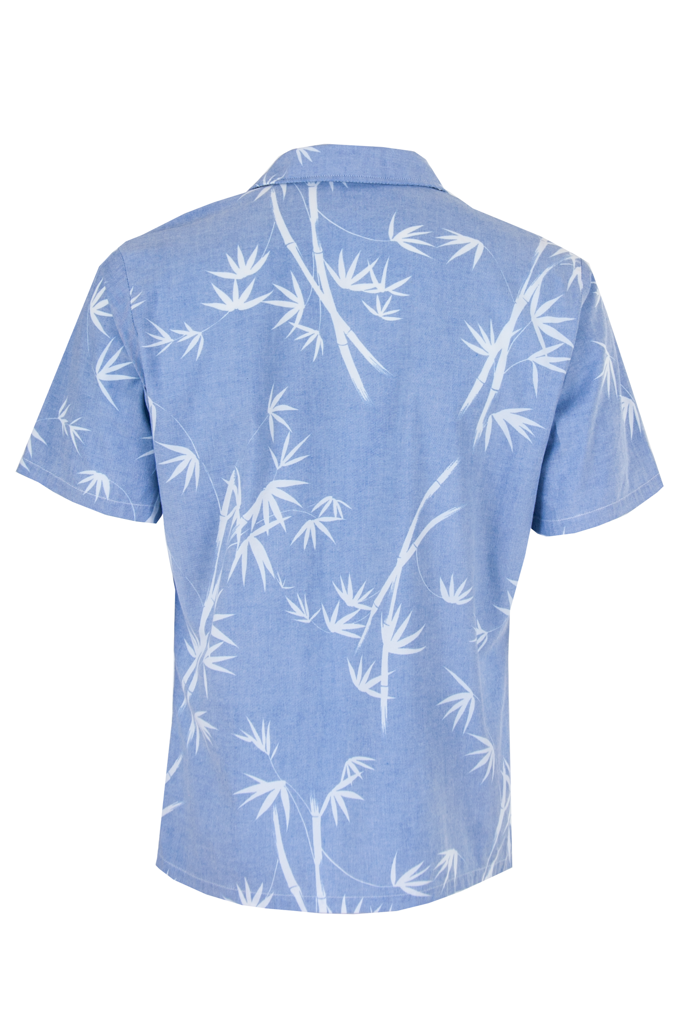 chambray shirt with white leaf print
