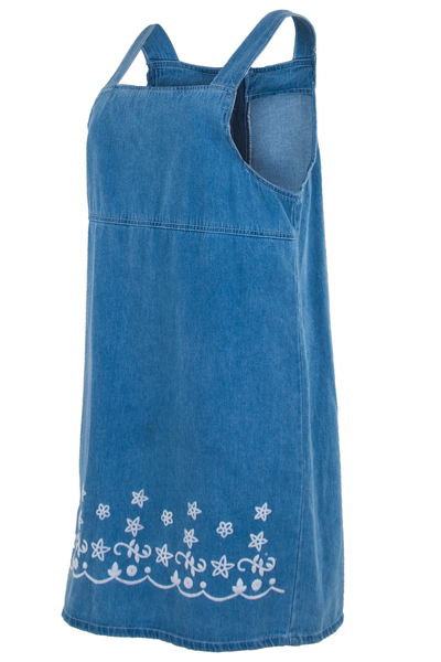 vintage overall dress in blue with embroidery