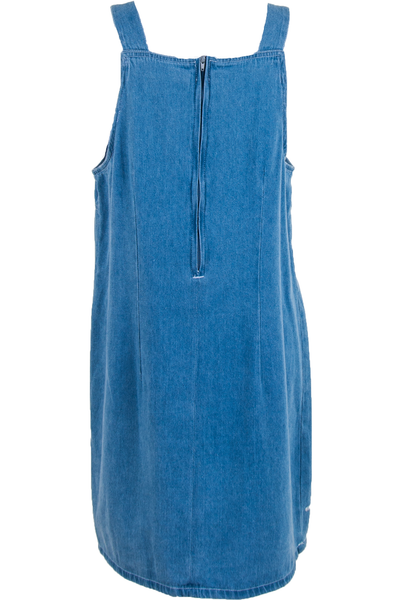 blue denim overall dress with back zipper