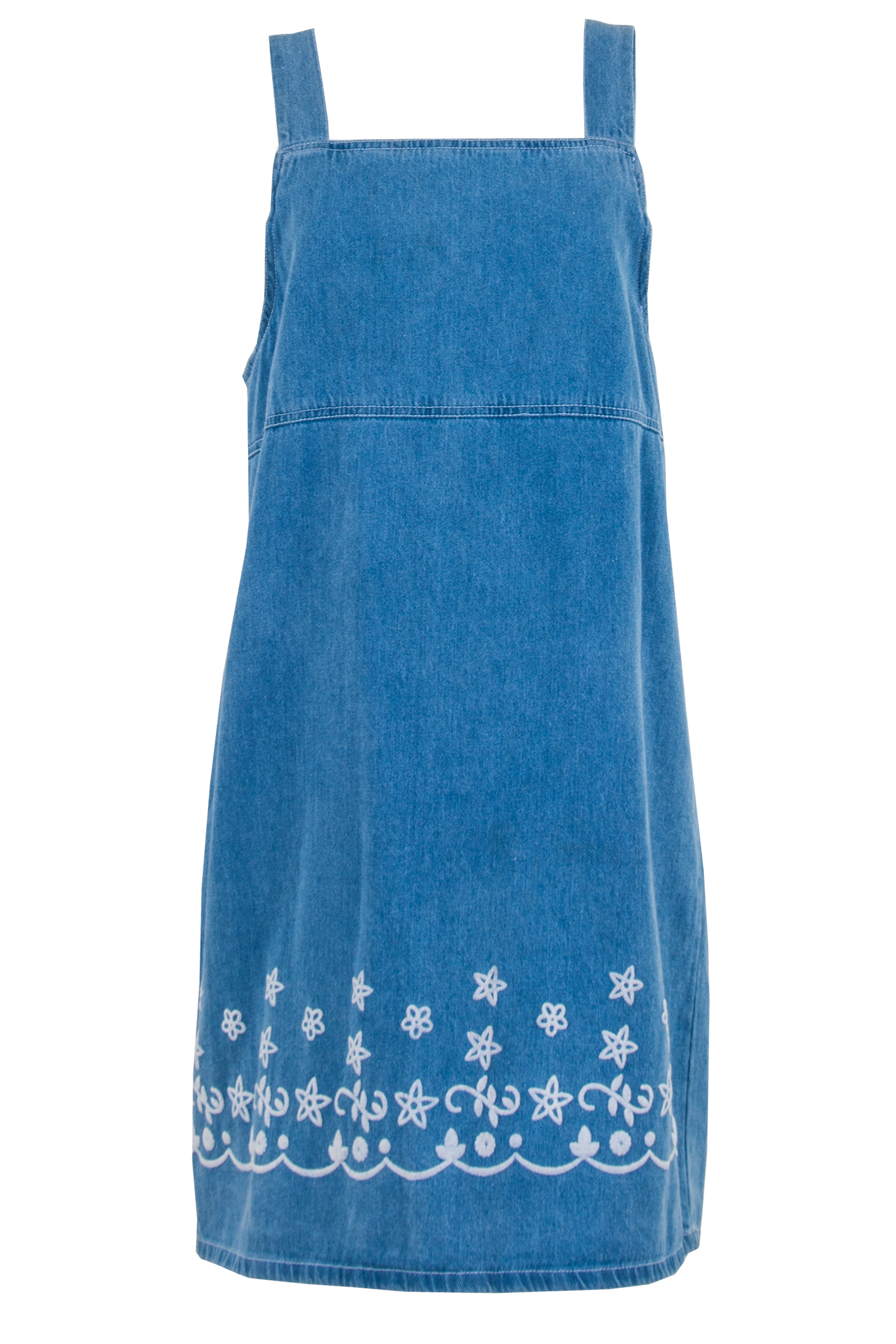 blue denim overall dress with embroidered hem