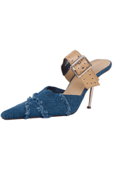 blue jean high heels with tan leather buckle