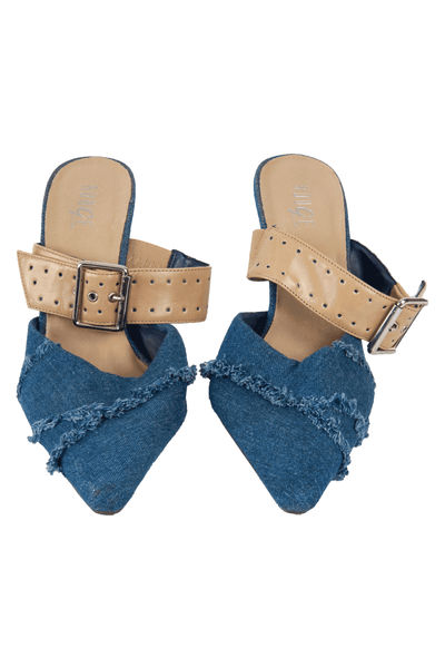 blue jean high heels with tan leather buckle trim