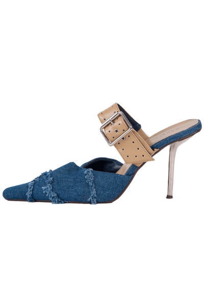 denim stilettos with tan leather trim and silver heel