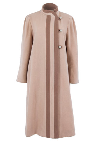 Front view of an American made vintage long length wool camel coat with dusty mauve contrast stripes and buttons.