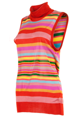 dolce & gabbana vintage turtleneck tank top with orange and multi-color stripes