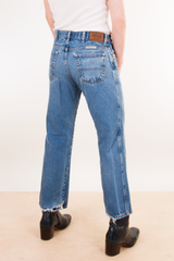 distressed vintage blue jeans