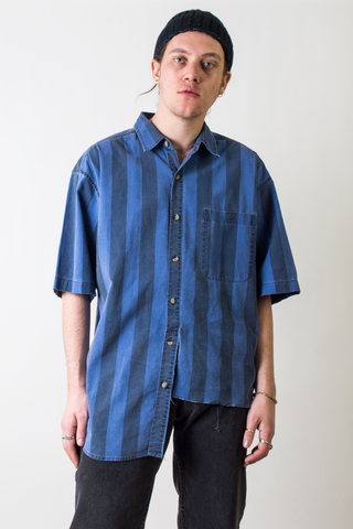 asymmetrical vintage shirt with blue stripes